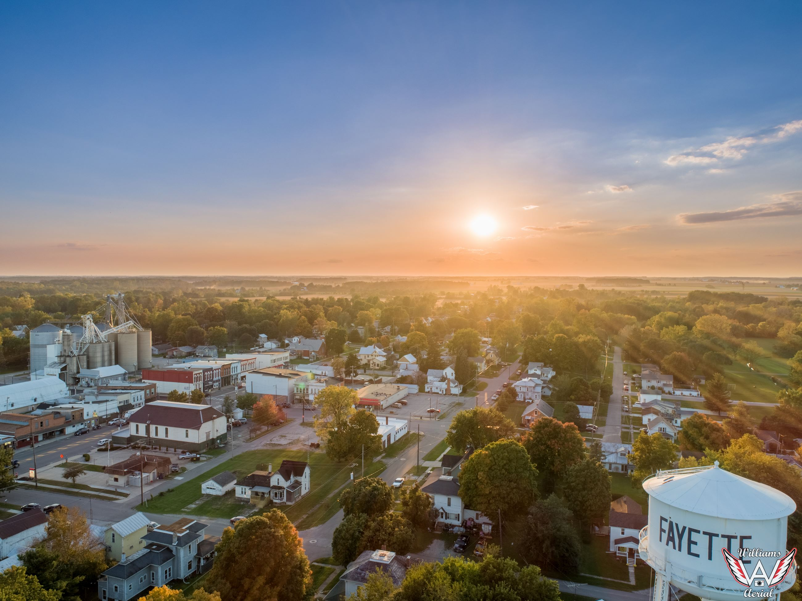 Drone Photo of Fayette at Sunset October 9, 2018